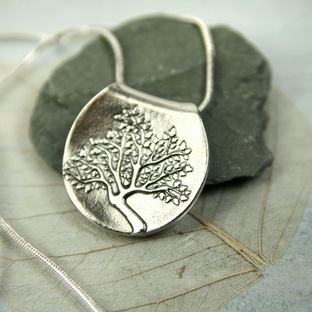 Tree of Life Fine Silver Pendant on Sterling Snake Chain