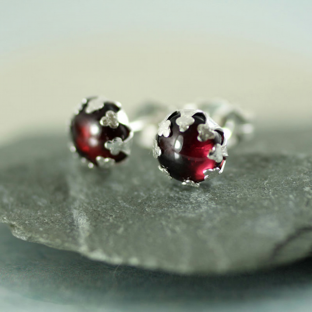 Garnet Stud Earrings - January's Birthstone - Sterling Silver Posts