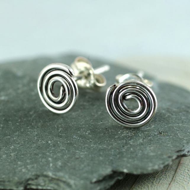 Celtic Spiral Stud Earrings, oxidized polished 925 sterling silver earring