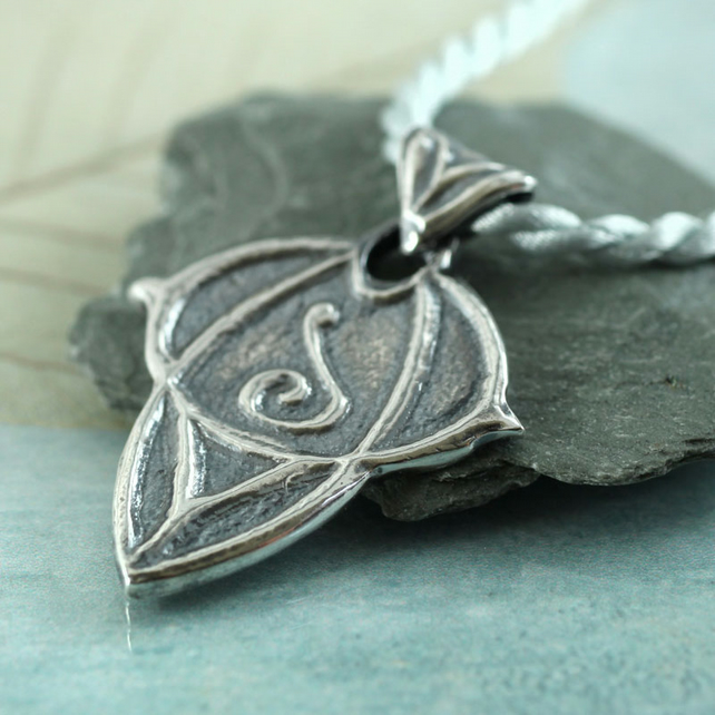 Silver Elven Pendant - Elvish Art Nouveau Style - Choose your rune
