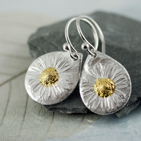 Silver Flower Earrings - Summer Daisies with Hearts of Gold