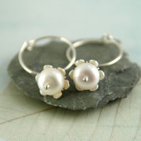 Pearl Dangle Hoops - Silver Sleeper Earrings with Snowy Flowers