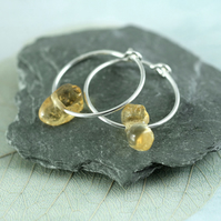 Silver Gem Hoops - Sterling Earrings with Organic Citrine Nuggets