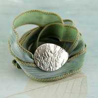 Silver Slide Bracelet on Soft Silk Ribbon - Wild Grasses in Recycled Fine Silver