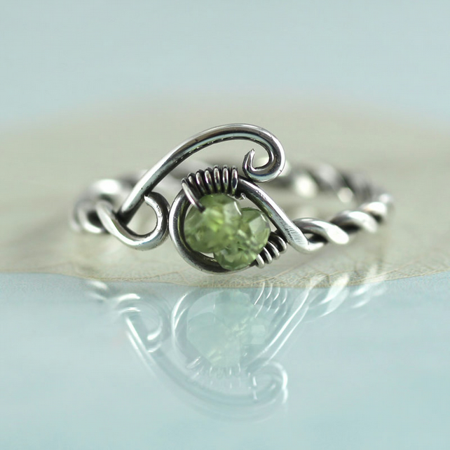 Sterling twist Ring with Peridot Beads - Wire Wrap Jewellery