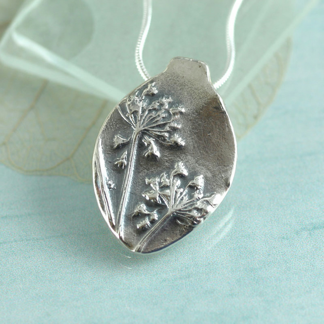 Silver Dandelion - Fine Silver Leaf Necklace - Wildflower Jewelry