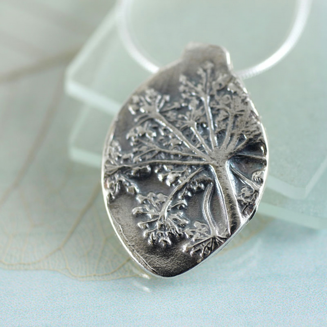 Flower Silver Pendant - Wild Flower Impression - Leaf Shape Necklace