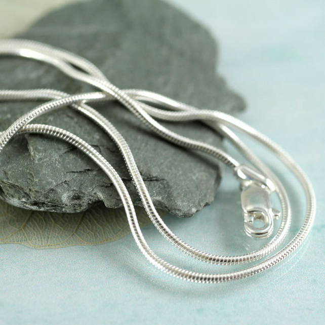 Silver Snake Chain - 1.0 mm Thick - 46 cm long