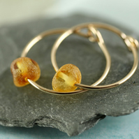 Gemstone Gold Hoops - 14 ct Gold Fill Sleeper Earrings with Amber Beads