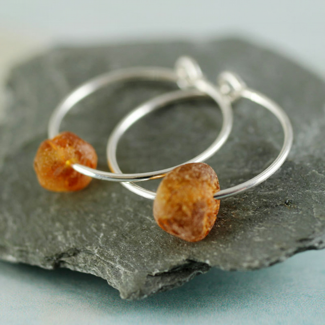 Sterling Sleeper Hoops - Silver Earrings with Amber Nuggets