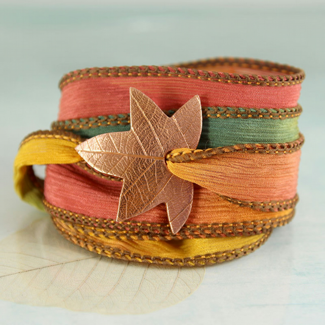 Copper Star Leaf Bracelet - Silk ribbon Soft Jewellery