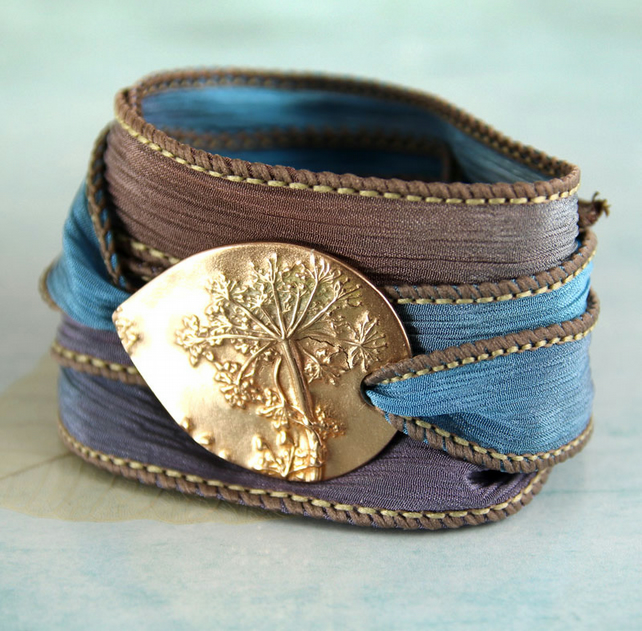 Silk Ribbon Wrap Bracelet with Bronze Slide - Dandelion Wishes