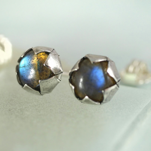 Silver and Labradorite Studs - Sterling Silver Post Earrings with Star Setting
