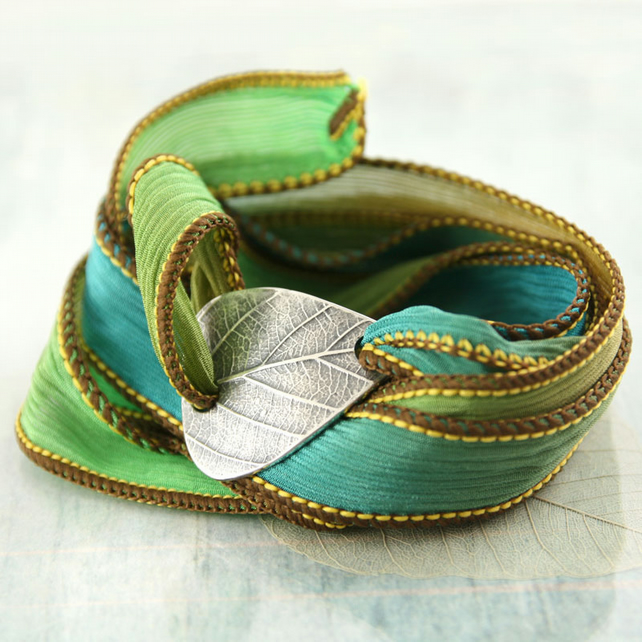 Leaf Bracelet in Silver - Shield Shaped Slide Silk Ribbon Wrap
