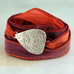 Flowery Bracelet on Soft Silk Ribbon - Silk Wrist Wrap - Recycled Fine Silver