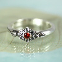 Slim Flower Ring with Red Stone Center - Sterling SIlver