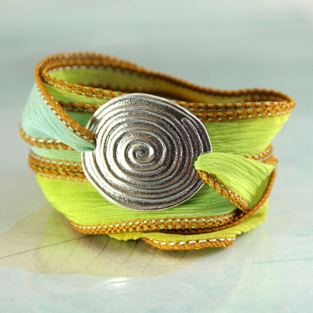 Ribbon Bracelet with Silver Focal - Spiral Symbol Celtic Style