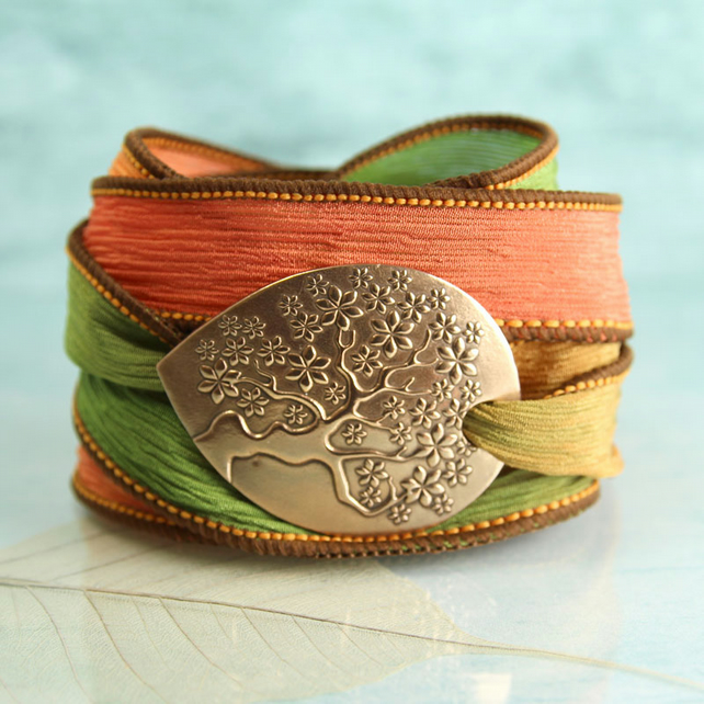 Tree-of-Life Silk Wrap and Handmade Bronze Focal - Ribbon Bracelet
