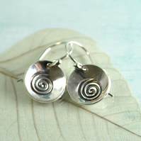 Cup Silver Earrings with Spiral Design - Celtic Spirit