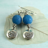 Frosted Agate Earrings With Silver Ammonite Charms