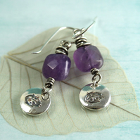 Ladybird Earrings with Amethyst Stones and Sterling SIlver