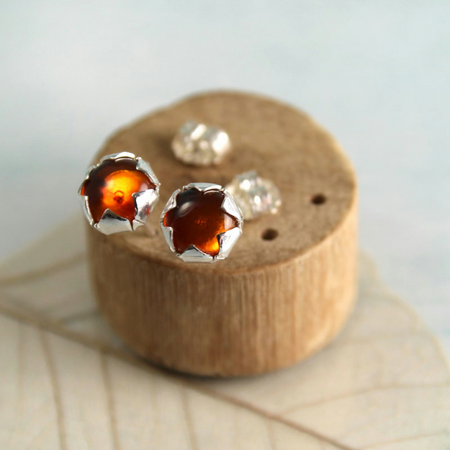 Amber Silver Studs with Flower Bezel - Rustic Vintage Earrings