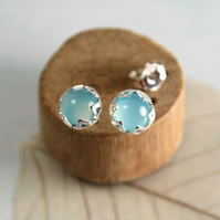Aqua Chalcedony Stone Earrings in Silver Flower Setting - Sterling Silver Posts