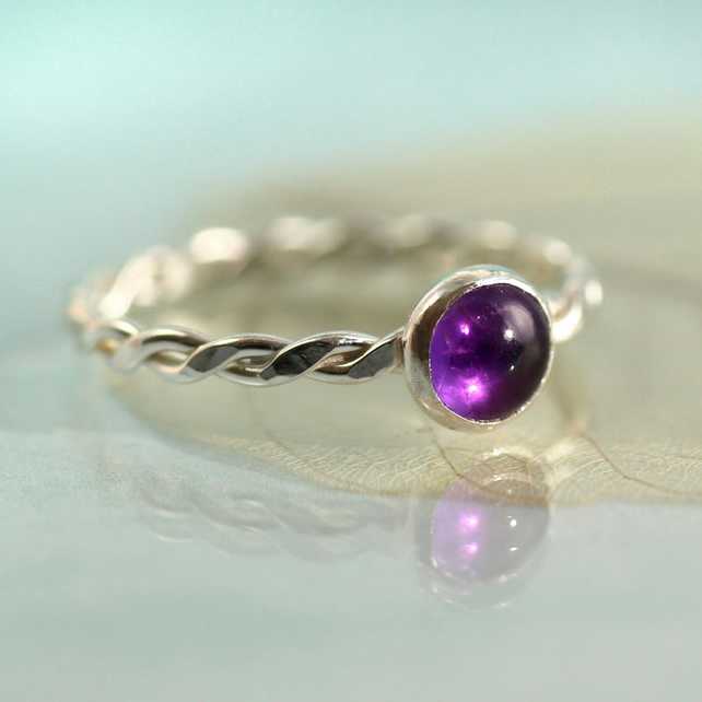 Amethyst Twist Ring - Sterling Silver and Deep Purple February Stone