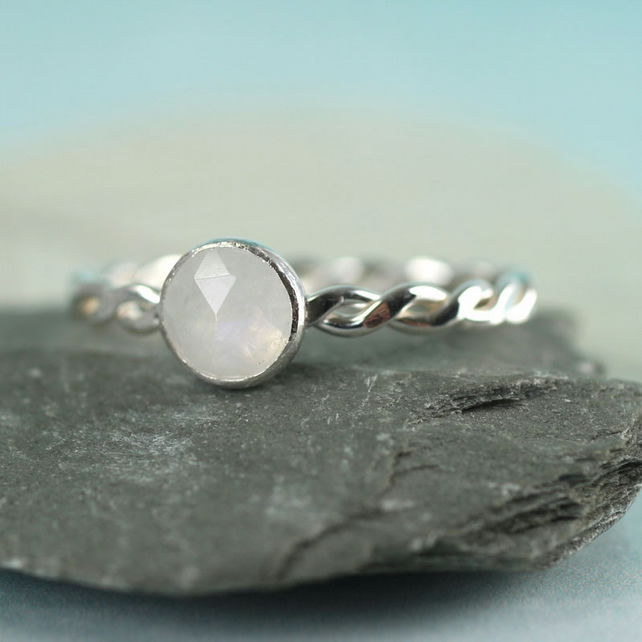Moonstone Twist Ring - Sterling Silver and Rainbow Moonstone