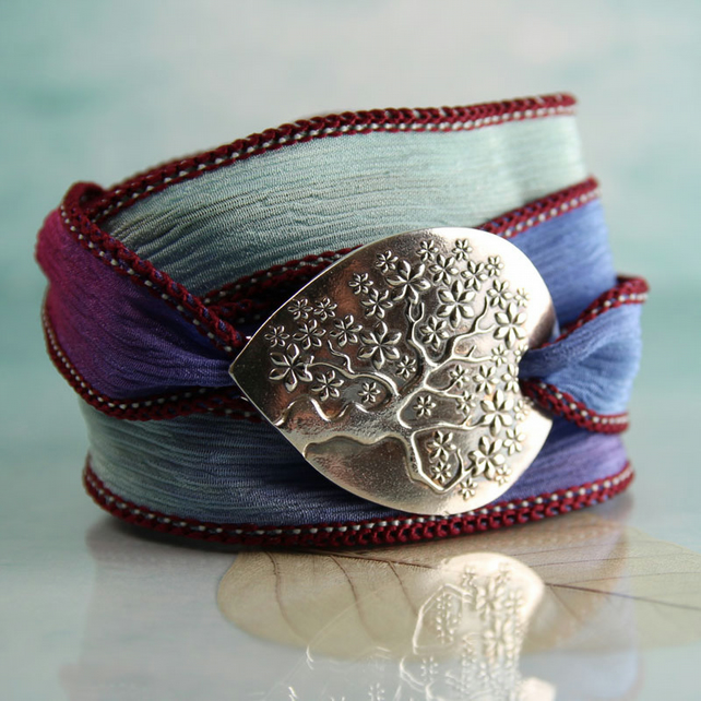 Silver and Silk Bracelet on Soft Silk Ribbon - Tree of Life