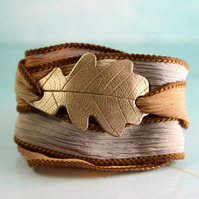 Bronze Oak Leaf Bracelet - Silk Ribbon Wrap with Golden Metal Slide