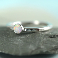 Silver Stacking Ring with White Synthetic Opal - Hammered band in Sterling
