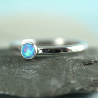 Silver Stacking Ring with Blue Synthetic Opal - Hammered band in Sterling