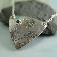 Dandelion Pendant in silver - Triangular Sterling Necklace with Purple Stone