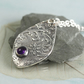 Drop Pendant in Fine Silver - Vintage Flower Pattern with Amethyst Stone