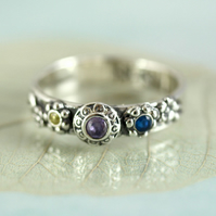 Triple Gem Ring in Sterling Silver Yellow Purple Blue