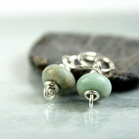 Terra Firma Jasper Beads on Sterling Silver Earring Hoops