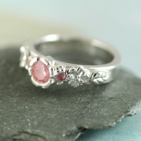 Princess Ring Pretty in Pink - Flowers and Pale Pink CZ - Sterling Silver