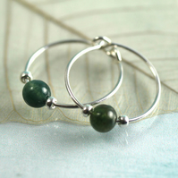 Silver Gem Hoops - Sterling Earrings with Moss Agate Beads