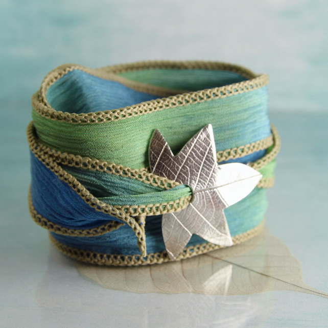 Leaf Bracelet - Silk Ribbon Wrap - Handcrafted -  Recycled Fine Silver
