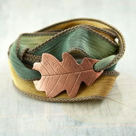Copper Oak Leaf Bracelet - Silk Ribbon Wrap in Woodland Colours