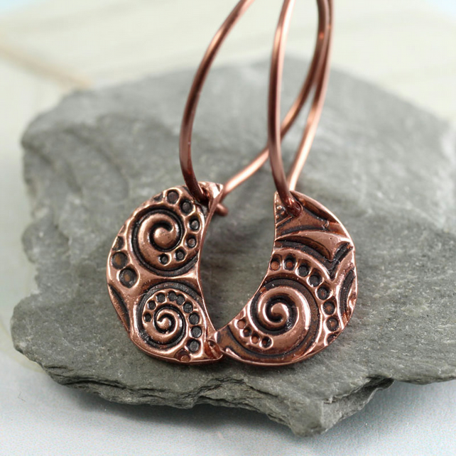 Copper Moons with Spiral Pattern on Hoops