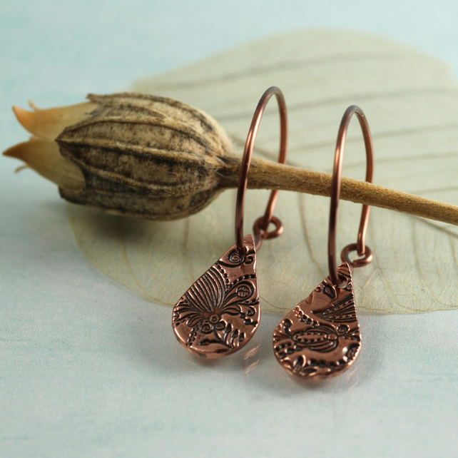 Copper Hoop Earrings with Flowery Drops