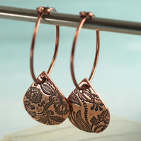 Copper Hoop Earrings with Folksy Petal Drops