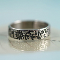 Sterling Band Ring Floral Pattern - 4 mm Wide