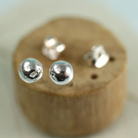 Silver Ball Earrings - Rustic Round Sterling Silver recycled into Stud Nuggets