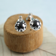 Black Silver Studs - Star Earrings with Haematite Stone