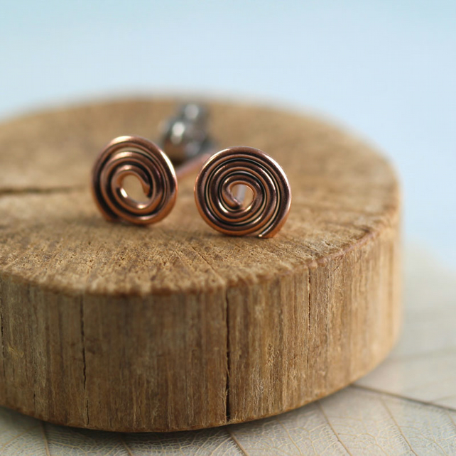 Copper Spiral Earrings. Celtic Symbol Wire Wrapped Studs