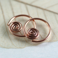 Spiral Hoops in Copper Wire - Comfortable Sleeper Earrings