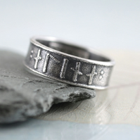 Rune Ring in Sterling Silver - Custom Elder Futhark Runes
